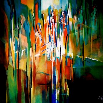 Acrylic Painting Ella Prakash Abstract Figures 1 Original