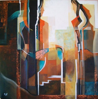 "Acrylic Painting Fine Art Abstract Ella Praksash ""Crossing Over"""