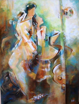 Acrylic Painting Abstract Ella Prakash Drenched With Music