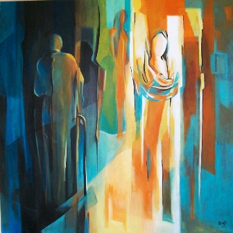 Acrylic Painting Ella Prakash Sorrow & Joy Original