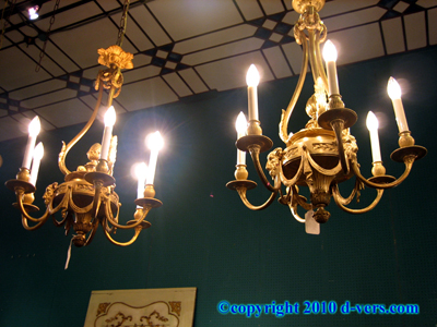 Ormolu Gilded Bronze Mounted 19th Century Chandeliers Pair