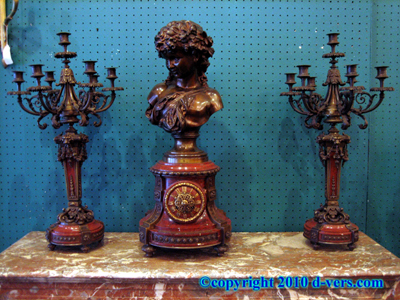 3 Piece Garniture Ormolu Gilded Bronze Patina 19th Century