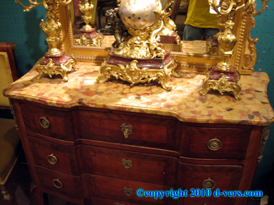 Louis XV Commode Marble Top French 19th Century 3 Drawer
