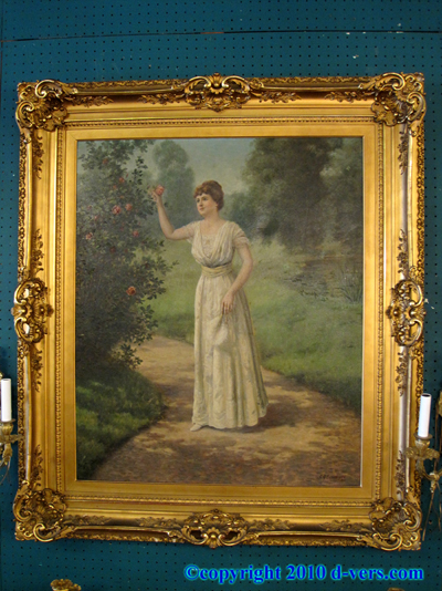 C.G. Beauregard Oil Painting 1916 Gilded Frame Lady With Tree