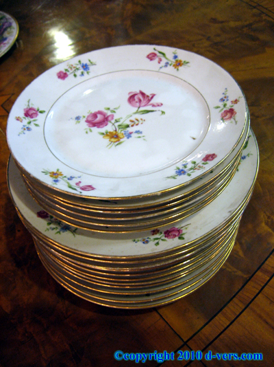 French Porcelain Dinner and Salad Plates with Rose Design Gilt