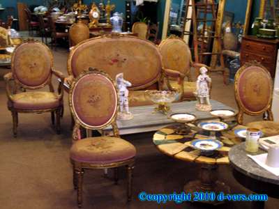 Louis XVI Salon Set Ormolu Gilded 5 Piece Sofa & Side Chairs