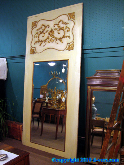 Trumeau Ormolu Gilded Mirror Cream Painted French 19th Century