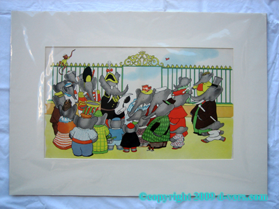 Babar The Elephant Storybook Print Rare MAT 1938