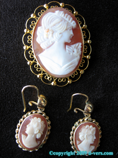 14K Gold Cameo Brooch/ Pendant Earrings Set 1900 MINT