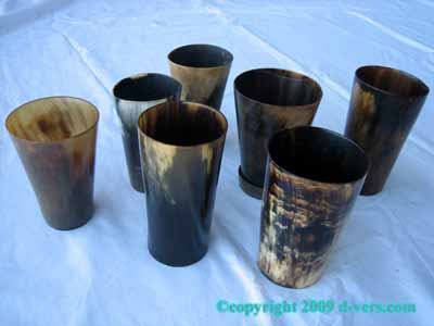 VICTORIAN Animal Horn Cups Tumblers Set of 7 Original Antique