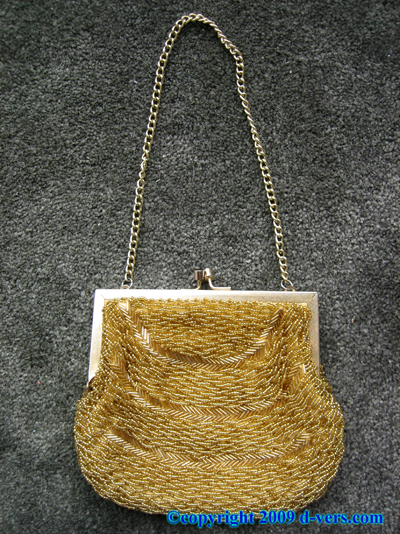 BEADED PURSE Handbag 1940s Gold Vintage