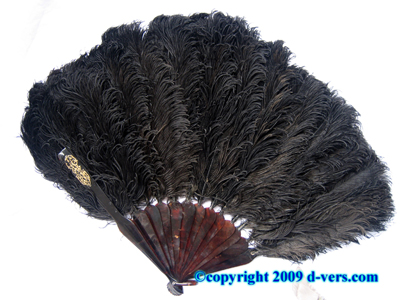 Fan Ostrich Feather Tortoise Shell Black Antique