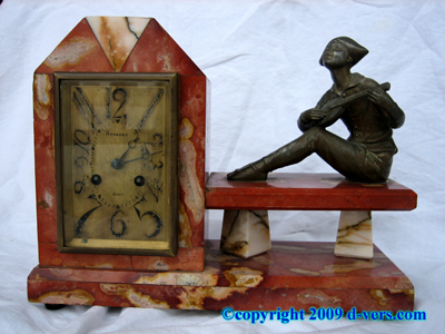ART DECO Clock Marble Antique c. 1920 Hambert Mandolin Player