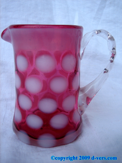 Pitcher Mini Hand Blown Cranberry Glass White Dots