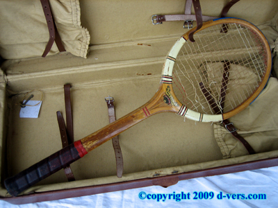 TENNIS RACQUET Leather Case Antique RARE 1910