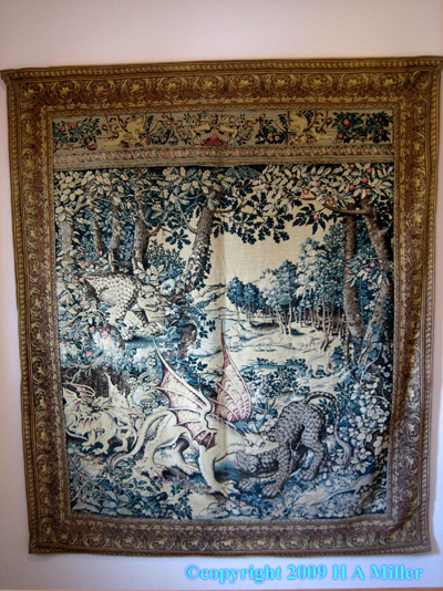 Belgian Tapestry Mythical Fantastical Creatures Dragons