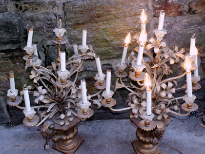 Antique Candelabra Bronze Pair Sculptured Metal Electrified
