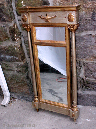 Antique Wall Mirror Aladdin Lamp Shells 1800s Restoration Period