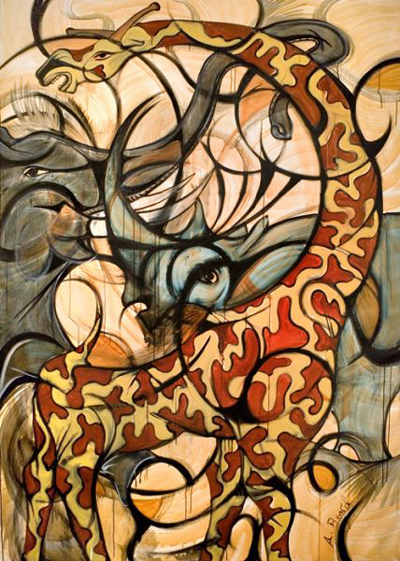 ALEX BEARD Giraffe, Rhino, and Elephant Painting Oil on Canvas