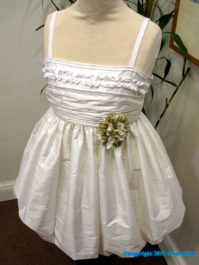 "Custom Couture Special Occasion Dress ""Ellie"" Winter White Amber"