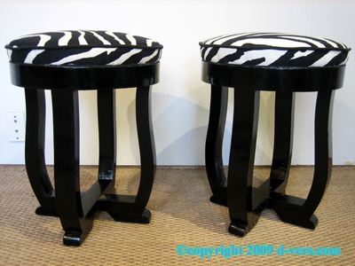 Art Deco Stools Pair Black Lacquer Zebra Print French