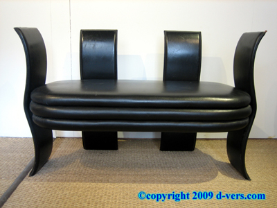 Art Deco Settee Reversible Black Leather French 20th Century