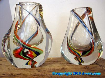 Murano Art Glass Vase Pair Italian 20th Century Colored Swirls