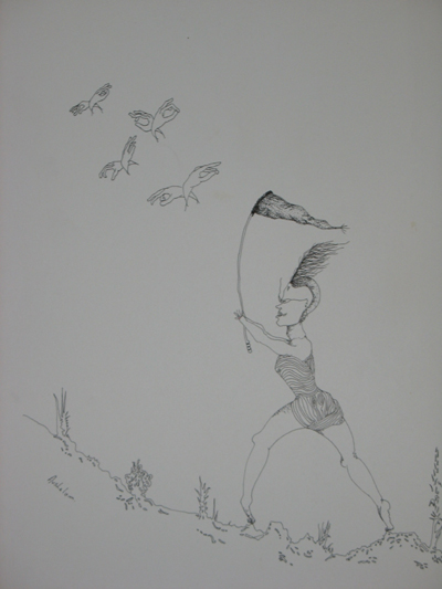 AVSHALOM EITAN Chasing Flying Hands Original Illustration Ink