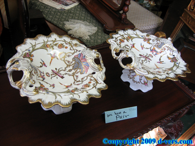 Set of 2 Bird Porcelain Candy Dishes Reproductions