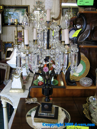 Lamp Cut Crystal Porcelain Flowers Electrified Candelabra