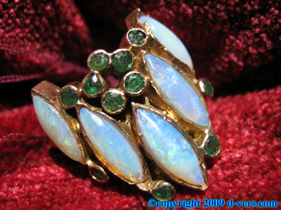 14K Yellow Gold Ring Opal 1960s