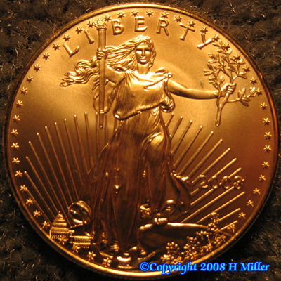 Gold Bullion Round 1 oz Ounce Liberty US 2008