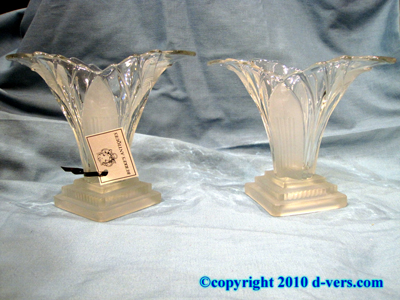 Art Deco Vases Hand Blown Frosted Glass Pair 20th Century French