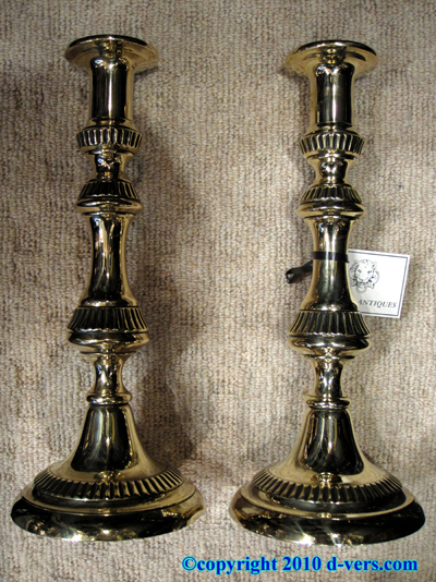 Brass Candlestick Push Up Pair English 19th Century