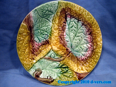 Majolica Begonia Leaf Plate English 19th Century