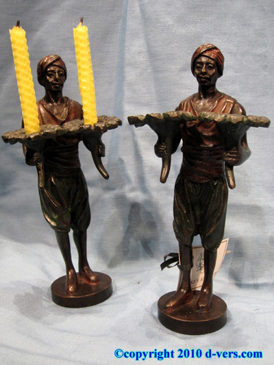 Bronze Candlesticks Pair Nubian Figures Bergmann English 19th C