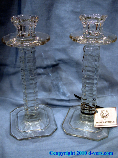 Pressed Glass Candlestick Pair 19th Century English
