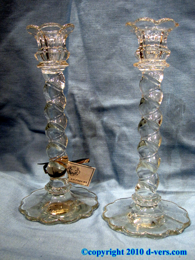 Pressed Glass Twist Candlesticks Pair 19th Century English