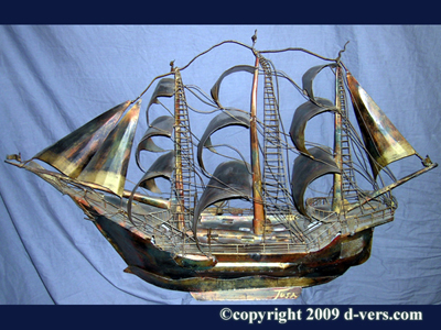 Model Ship Hand Made Sculpture 1920 Tusa