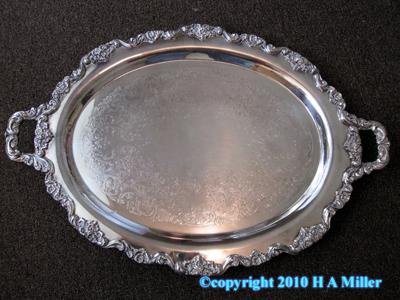 Silver Plated Serving Tray Antique pre 18th Century Chased