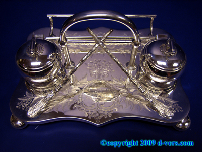 Silver Plate Inkwell Pen Holder Curling Game Victorian 1890