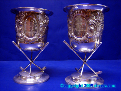 Pair Golf Trophy Irish Sterling Silver H & H Dublin Ireland