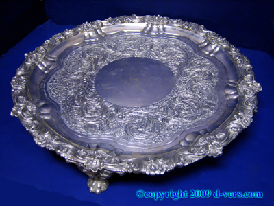 STERLING SILVER Irish Footed Serving Tray Hand Chased George IV