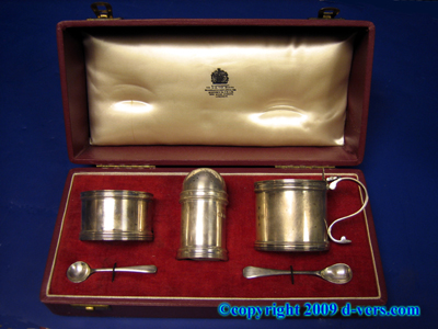 Georgian Condiment Set Sterling Silver Asprey London