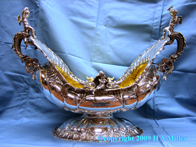 STERLING SILVER Italian Massive Centerpiece Fruit Wine Bowl