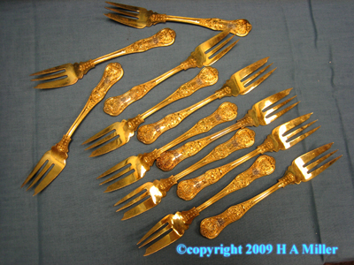 STERLING SILVER Gilded Fish Forks L.A. Crichton London