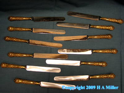 STERLING SILVER Gilded L.A. Crichton Dinner Knives Knife Set