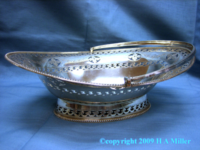 English Serving Basket STERLING SILVER Handled L.A. Crichton