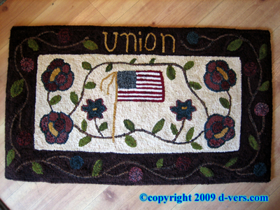 "Folk Art MARGOT WHITE Hooked Rug ""Union"" Indiana Artisan"