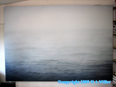 "Alan Caomin Xie Original Oil Painting ""Fog On Ocean"""